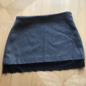 Gray skirt with lace trimming